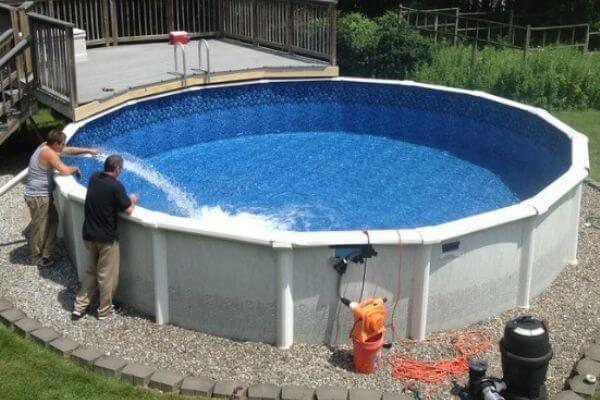 what to put under the above ground pool